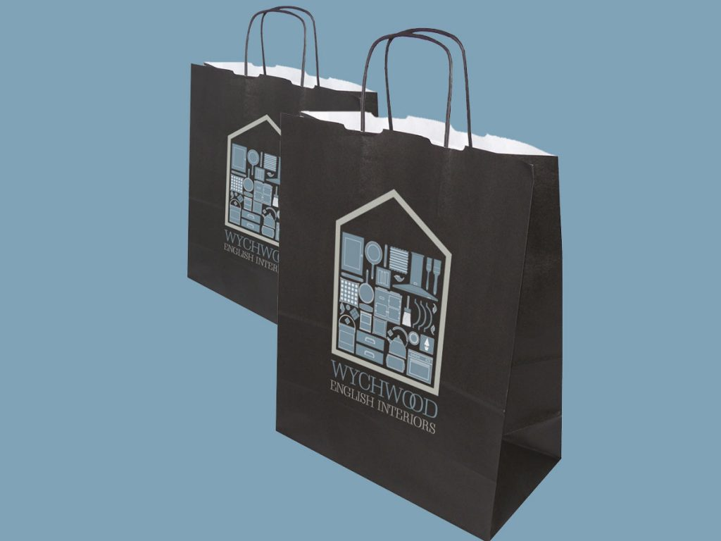 Carrier bag design for Wychwood English Interiors